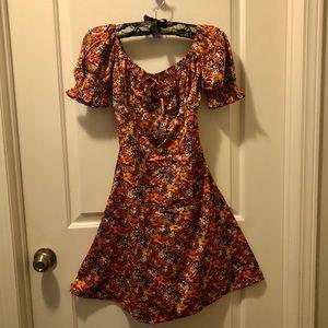 Puff sleeved floral print mini dress, BNWT